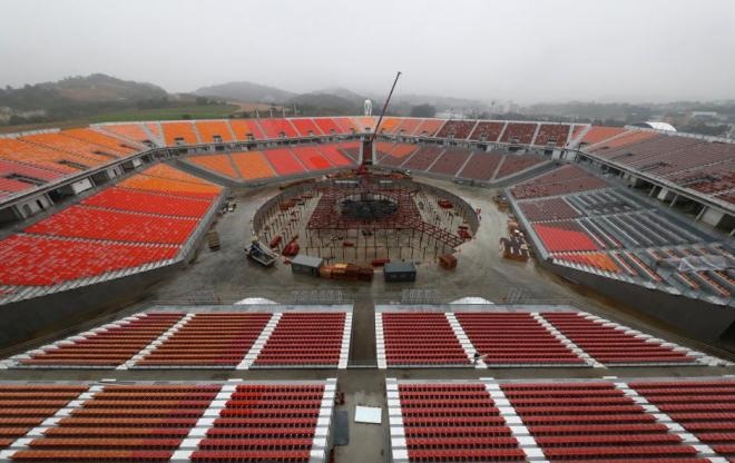 FILE PHOTO: The Olympic Stadium, the venue for the opening and closing ceremony of the PyeongChang 2018 Winter Olympic Games, is seen in Pyeongchang